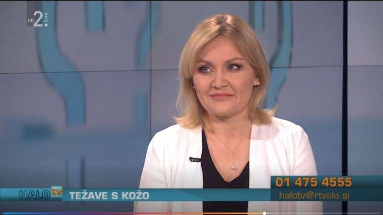 Dr. Vesna Tlaker v živo na TV Slovenija – oddaja Halo TV o težavah s kožo
